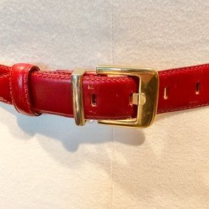 Talbots red leather belt with gold buckle